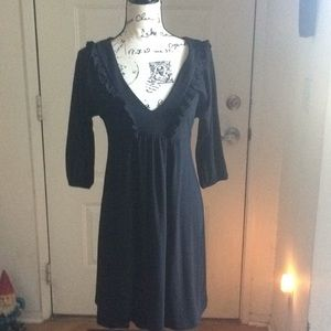 Black long sleeve dress with plunging neck line